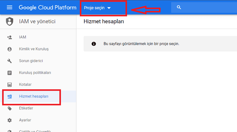Google API hizmet hesabı