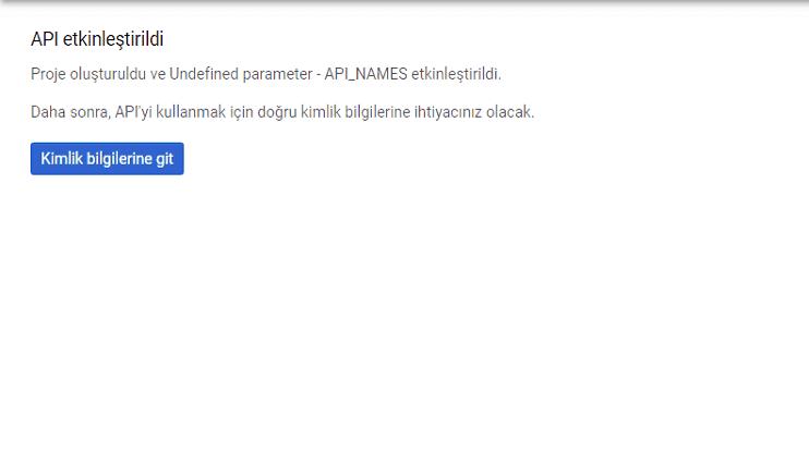 Google API proje oluşturma