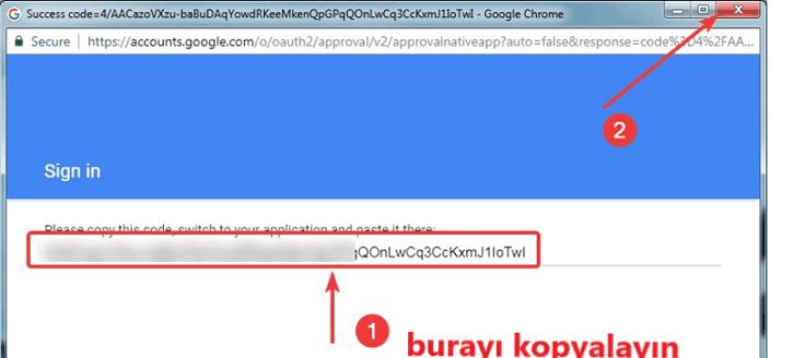 doğrulama kodunu kopyalama