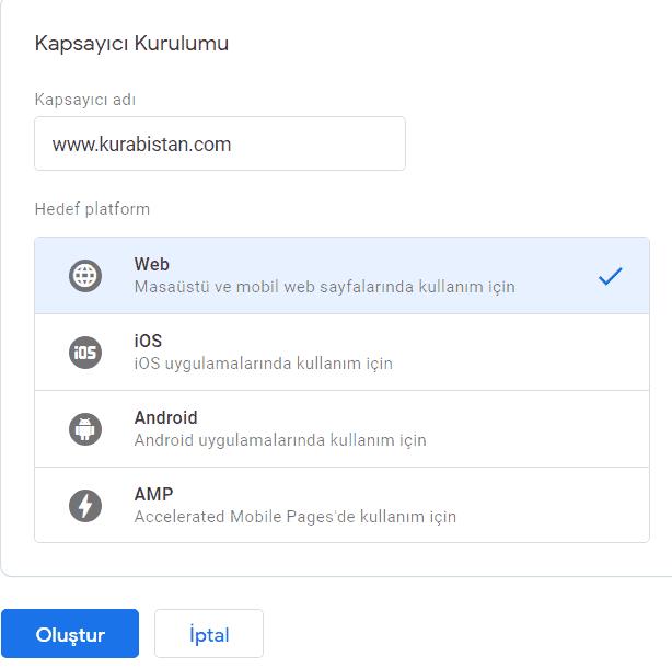 google tag manager kapsayıcı kurulumu