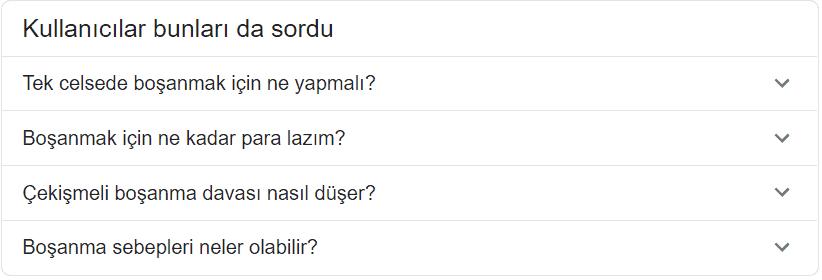 Google kullanicilar bunlari da sordu