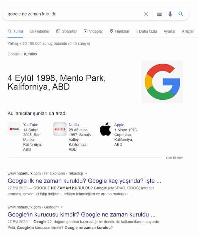 google ne zaman kuruldu arama sorgusu