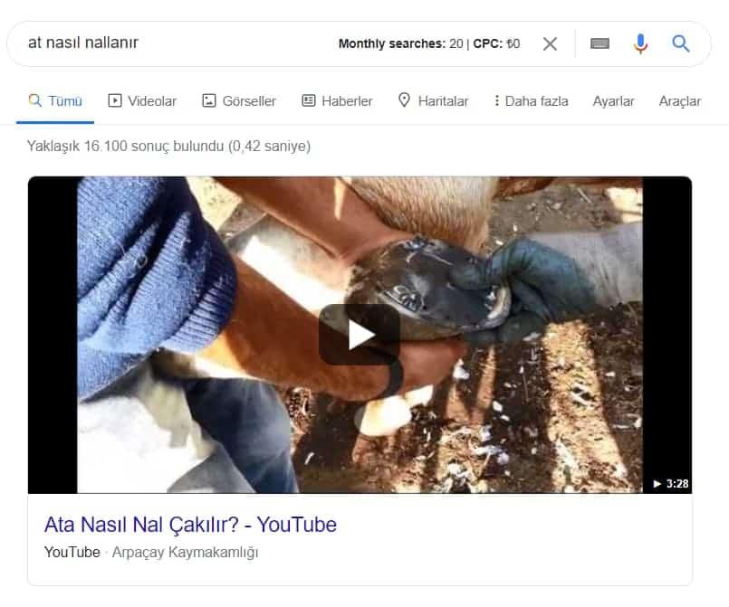 video featured snippet örneği