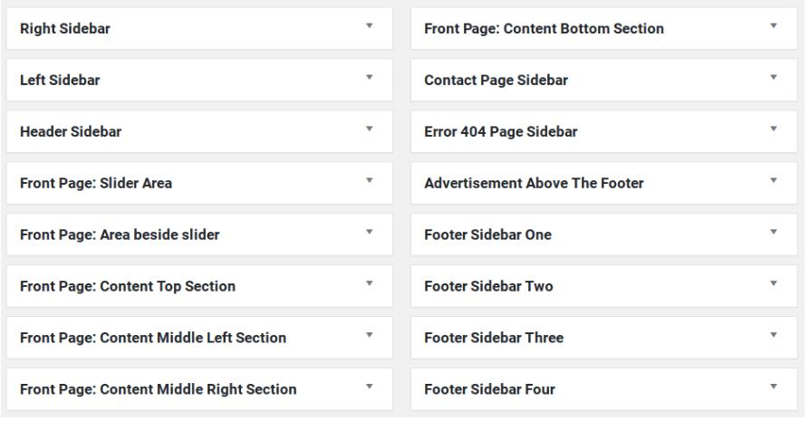 Colormag wordpress teması bileşen alanları