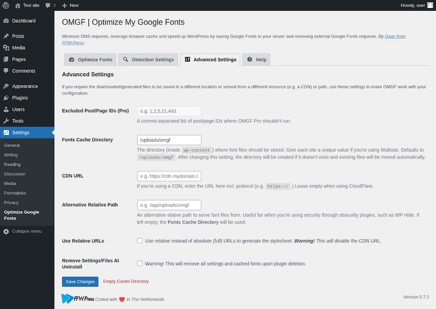 OMGF WordPress font eklentisi