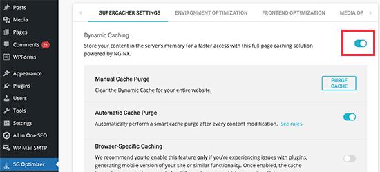 sgoptimizer cache özelliği