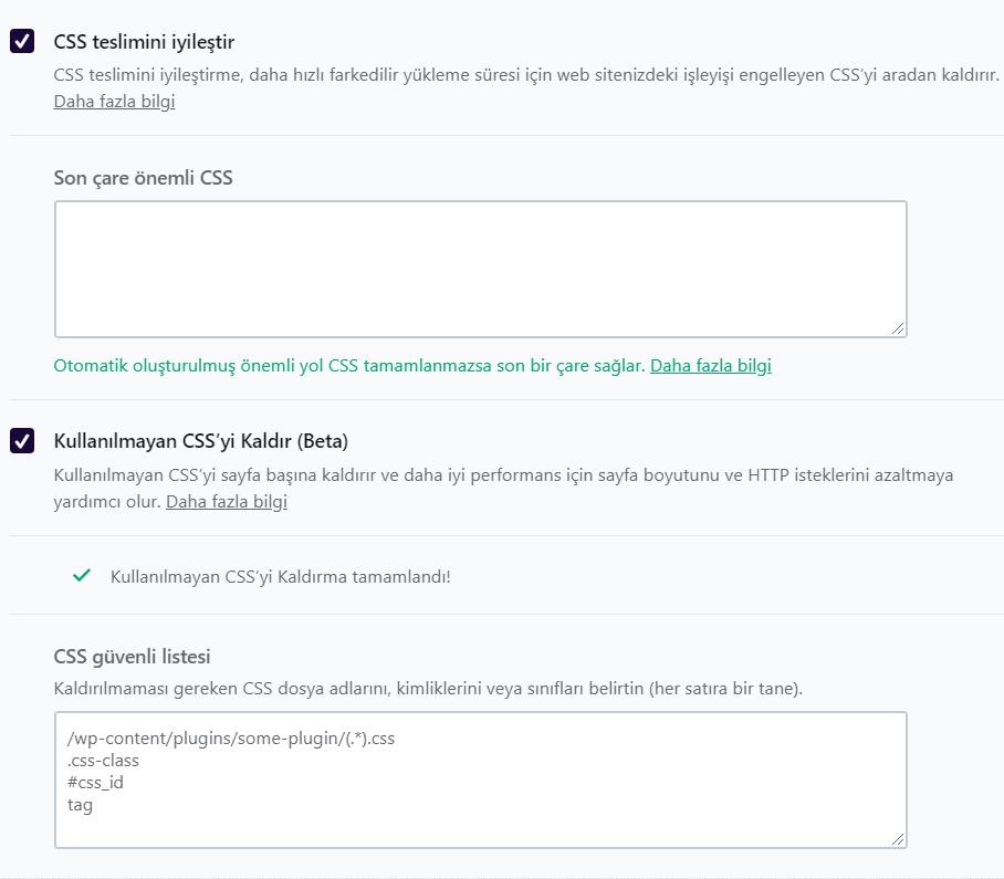 wprocket css dağıtımını iyileştime ve kullanılmayan CSS kaldırma